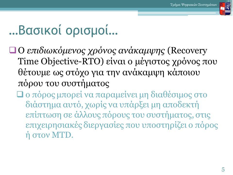 …Σχέδιο ανάκαμψης: Περιεχόμενα  περιγραφή ρόλων και αρμοδιοτήτων των εμπλεκομένων, τόσο πριν την καταστροφή όσο και μετά την εκδήλωσή της,  κατάλογο με τον απαραίτητο για την ανάκαμψη εξοπλισμό,  κοστολόγια υπηρεσιών και πόρων,  στοιχεία εναλλακτικών εγκαταστάσεων ( στοιχεία επικοινωνίας με τους οικείους υπεύθυνους, διαγράμματα, κλπ ),  έντυπα ελέγχου ορθής λειτουργίας.