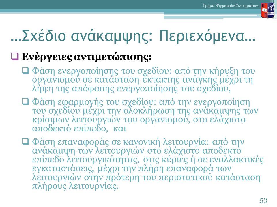…Σχέδιο ανάκαμψης: Περιεχόμενα…  Ενέργειες αντιμετώπισης:  Φάση ενεργοποίησης του σχεδίου: από την κήρυξη του οργανισμού σε κατάσταση έκτακτης ανάγκης μέχρι τη λήψη της απόφασης ενεργοποίησης του σχεδίου,  Φάση εφαρμογής του σχεδίου: από την ενεργοποίηση του σχεδίου μέχρι την ολοκλήρωση της ανάκαμψης των κρίσιμων λειτουργιών του οργανισμού, στο ελάχιστο αποδεκτό επίπεδο, και  Φάση επαναφοράς σε κανονική λειτουργία: από την ανάκαμψη των λειτουργιών στο ελάχιστο αποδεκτό επίπεδο λειτουργικότητας, στις κύριες ή σε εναλλακτικές εγκαταστάσεις, μέχρι την πλήρη επαναφορά των λειτουργιών στην πρότερη του περιστατικού κατάσταση πλήρους λειτουργίας.