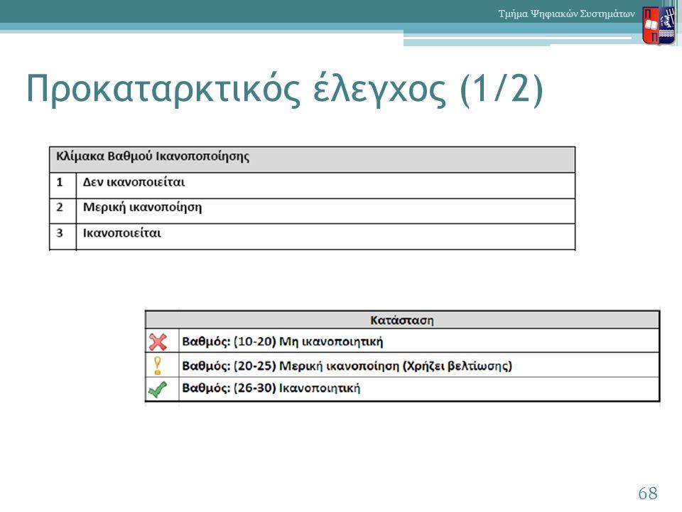 Προκαταρκτικός έλεγχος (1/2) 68 Τμήμα Ψηφιακών Συστημάτων