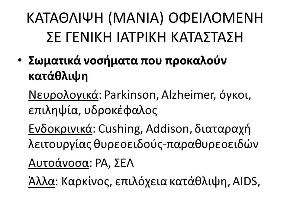ΚΑΤΑΘΛΙΨΗ (ΜΑΝΙΑ) ΟΦΕΙΛΟΜΕΝΗ ΣΕ ΓΕΝΙΚΗ ΙΑΤΡΙΚΗ ΚΑΤΑΣΤΑΣΗ Σωματικά νοσήματα που προκαλούν κατάθλιψη Νευρολογικά: Parkinson, Alzheimer, όγκοι, επιληψία, υδροκέφαλος Ενδοκρινικά: Cushing, Addison, διαταραχή λειτουργίας θυρεοειδούς-παραθυρεοειδών Αυτοάνοσα: ΡΑ, ΣΕΛ Άλλα: Καρκίνος, επιλόχεια κατάθλιψη, AIDS,