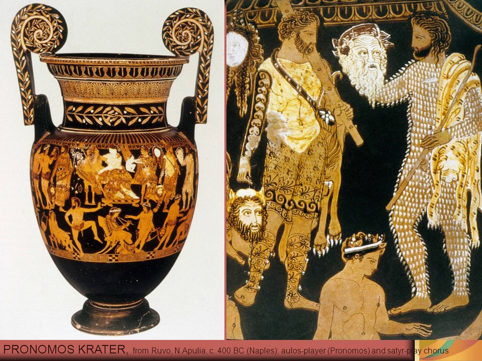 PRONOMOS KRATER, from Ruvo, N.Apulia, c. 400 BC (Naples): aulos-player (Pronomos) and satyr-play chorus