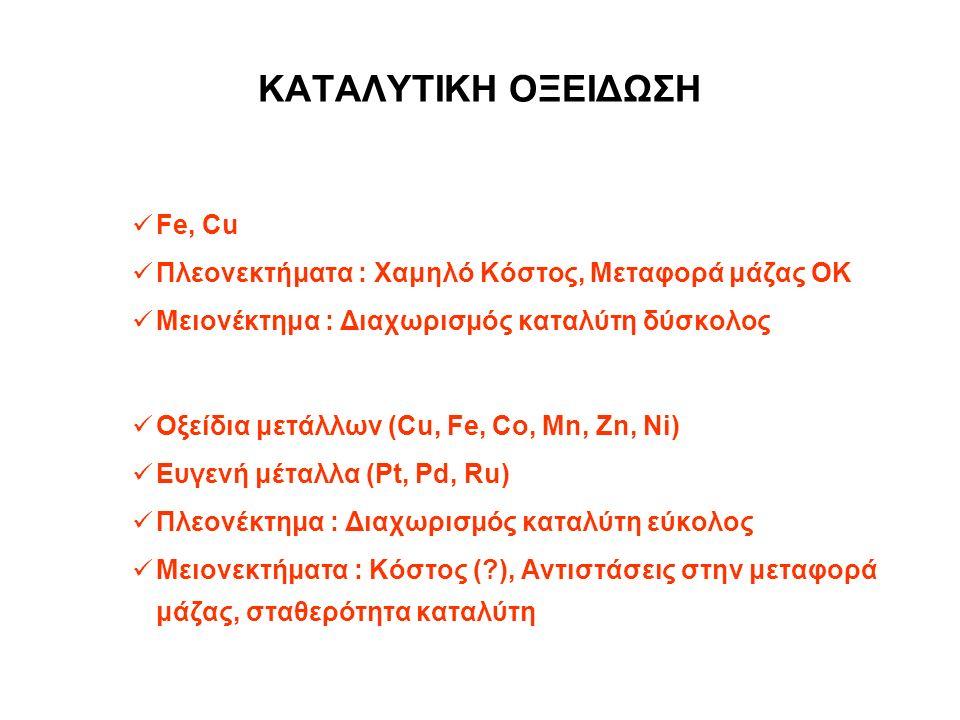 ΚΑΤΑΛΥΤΙΚΗ ΟΞΕΙΔΩΣΗ Ομογενείς Καταλύτες Fe, Cu Πλεονεκτήματα : Χαμηλό Κόστος, Μεταφορά μάζας ΟΚ Μειονέκτημα : Διαχωρισμός καταλύτη δύσκολος Ετερογενείς Καταλύτες Οξείδια μετάλλων (Cu, Fe, Co, Mn, Zn, Ni) Ευγενή μέταλλα (Pt, Pd, Ru) Πλεονέκτημα : Διαχωρισμός καταλύτη εύκολος Μειονεκτήματα : Κόστος ( ), Αντιστάσεις στην μεταφορά μάζας, σταθερότητα καταλύτη