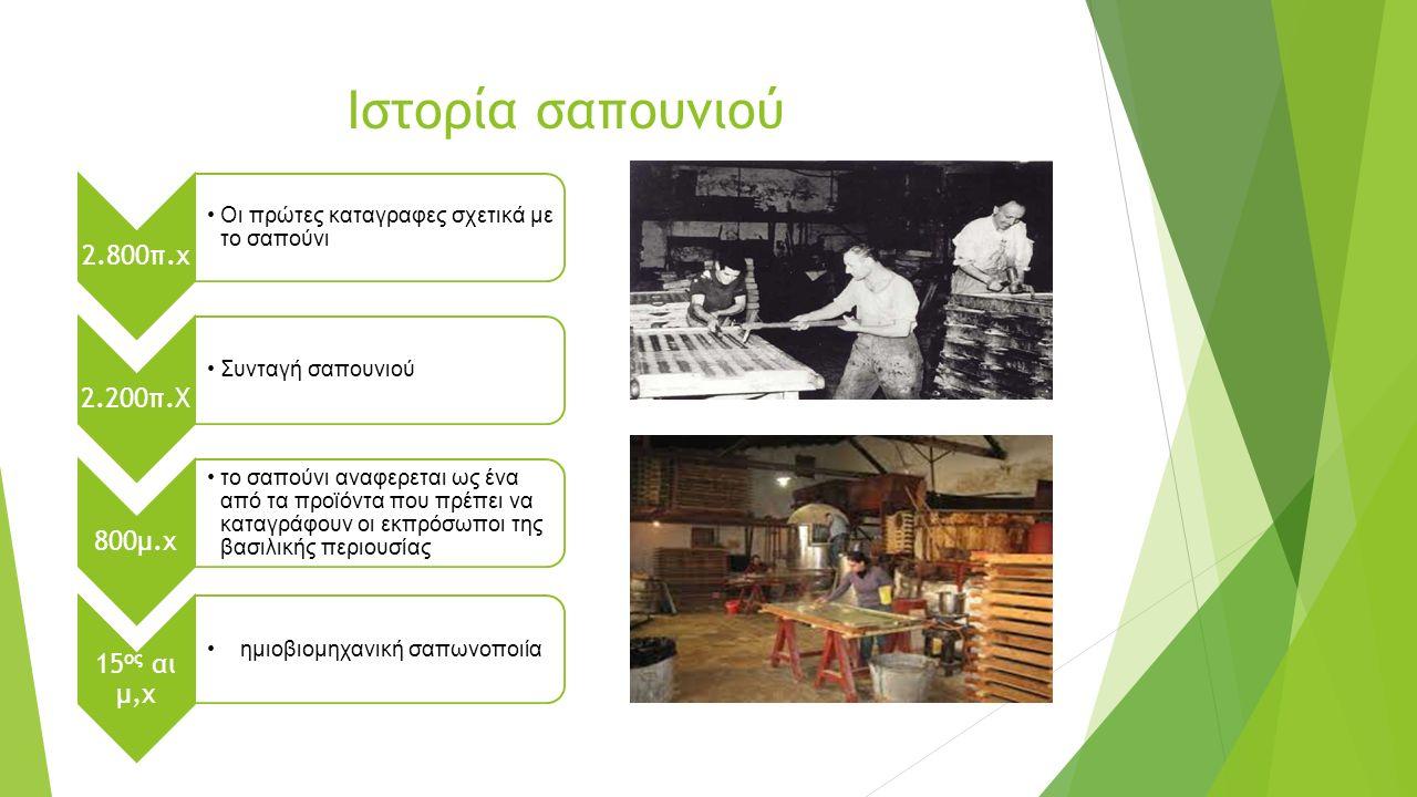 Ιστορία σαπουνιού 2.800π.χ Οι πρώτες καταγραφες σχετικά με το σαπούνι 2.200π.Χ Συνταγή σαπουνιού 800μ.χ το σαπούνι αναφερεται ως ένα από τα προϊόντα που πρέπει να καταγράφουν οι εκπρόσωποι της βασιλικής περιουσίας 15 ος αι μ,χ ημιοβιομηχανική σαπωνοποιία