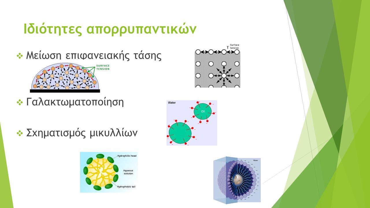 Ιδιότητες απορρυπαντικών  Μείωση επιφανειακής τάσης  Γαλακτωματοποίηση  Σχηματισμός μικυλλίων