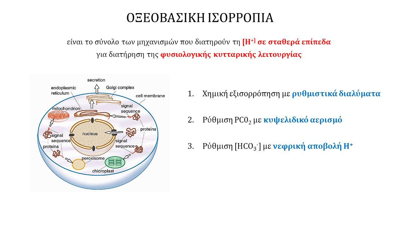 ΟΞΕΟΒΑΣΙΚΗ ΙΣΟΡΡΟΠΙΑ είναι το σύνολο των μηχανισμών που διατηρούν τη [Η +] σε σταθερά επίπεδα για διατήρηση της φυσιολογικής κυτταρικής λειτουργίας 1.Χημική εξισορρόπηση με ρυθμιστικά διαλύματα 2.Ρύθμιση PC0 2 με κυψελιδικό αερισμό 3.Ρύθμιση [HCO 3 - ] με νεφρική αποβολή Η +
