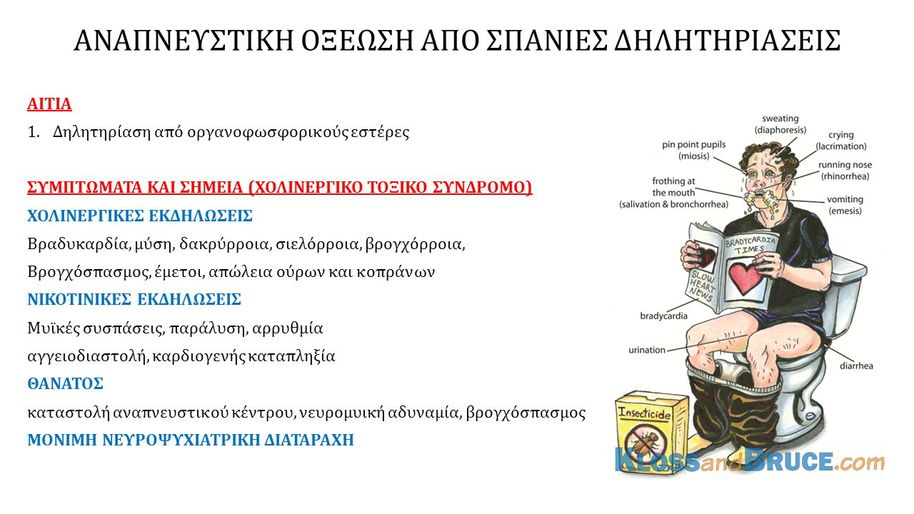 ΑΝΑΠΝΕΥΣΤΙΚΗ ΟΞΕΩΣΗ ΑΠΟ ΣΠΑΝΙΕΣ ΔΗΛΗΤΗΡΙΑΣΕΙΣ ΑΙΤΙΑ 1.Δηλητηρίαση από οργανοφωσφορικούς εστέρες ΣΥΜΠΤΩΜΑΤΑ ΚΑΙ ΣΗΜΕΙΑ (ΧΟΛΙΝΕΡΓΙΚΟ ΤΟΞΙΚΟ ΣΥΝΔΡΟΜΟ) ΧΟΛΙΝΕΡΓΙΚΕΣ ΕΚΔΗΛΩΣΕΙΣ Βραδυκαρδία, μύση, δακρύρροια, σιελόρροια, βρογχόρροια, Βρογχόσπασμος, έμετοι, απώλεια ούρων και κοπράνων ΝΙΚΟΤΙΝΙΚΕΣ ΕΚΔΗΛΩΣΕΙΣ Μυϊκές συσπάσεις, παράλυση, αρρυθμία αγγειοδιαστολή, καρδιογενής καταπληξία ΘΑΝΑΤΟΣ καταστολή αναπνευστικού κέντρου, νευρομυική αδυναμία, βρογχόσπασμος ΜΟΝΙΜΗ ΝΕΥΡΟΨΥΧΙΑΤΡΙΚΗ ΔΙΑΤΑΡΑΧΗ