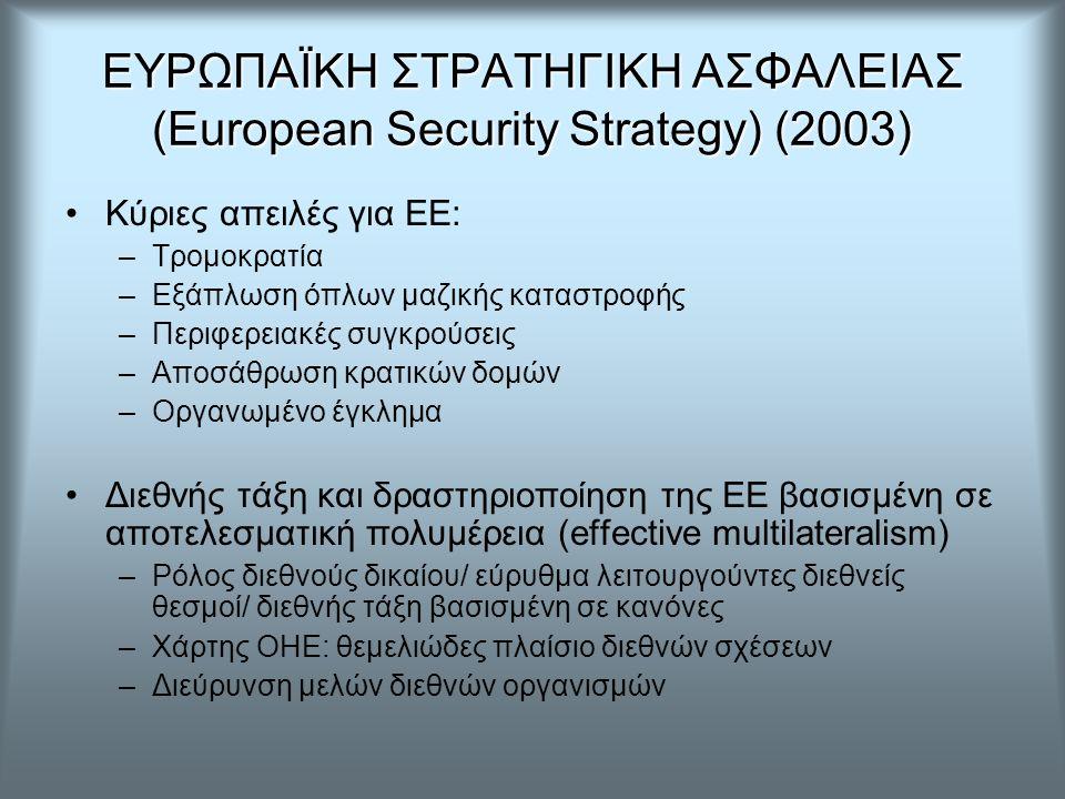 ΕΥΡΩΠΑΪΚΗ ΣΤΡΑΤΗΓΙΚΗ ΑΣΦΑΛΕΙΑΣ (European Security Strategy) (2003) Κύριες απειλές για ΕΕ: –Τρομοκρατία –Εξάπλωση όπλων μαζικής καταστροφής –Περιφερειακές συγκρούσεις –Αποσάθρωση κρατικών δομών –Οργανωμένο έγκλημα Διεθνής τάξη και δραστηριοποίηση της ΕΕ βασισμένη σε αποτελεσματική πολυμέρεια (effective multilateralism) –Ρόλος διεθνούς δικαίου/ εύρυθμα λειτουργούντες διεθνείς θεσμοί/ διεθνής τάξη βασισμένη σε κανόνες –Χάρτης ΟΗΕ: θεμελιώδες πλαίσιο διεθνών σχέσεων –Διεύρυνση μελών διεθνών οργανισμών
