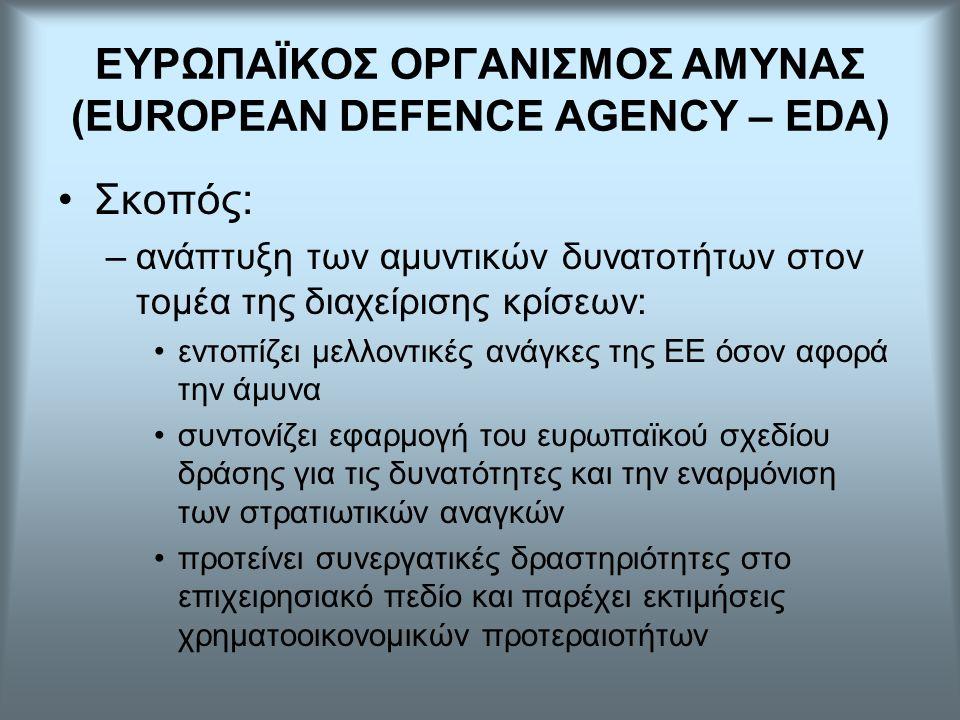 Σκοπός: –ανάπτυξη των αμυντικών δυνατοτήτων στον τομέα της διαχείρισης κρίσεων: εντοπίζει μελλοντικές ανάγκες της ΕΕ όσον αφορά την άμυνα συντονίζει εφαρμογή του ευρωπαϊκού σχεδίου δράσης για τις δυνατότητες και την εναρμόνιση των στρατιωτικών αναγκών προτείνει συνεργατικές δραστηριότητες στο επιχειρησιακό πεδίο και παρέχει εκτιμήσεις χρηματοοικονομικών προτεραιοτήτων ΕΥΡΩΠΑΪΚΟΣ ΟΡΓΑΝΙΣΜΟΣ ΑΜΥΝΑΣ (EUROPEAN DEFENCE AGENCY – EDA)