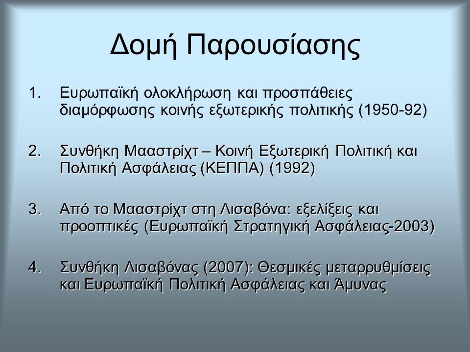 Δομή Παρουσίασης 1.Ευρωπαϊκή ολοκλήρωση και προσπάθειες διαμόρφωσης κοινής εξωτερικής πολιτικής (1950-92) 2.Συνθήκη Μααστρίχτ – Κοινή Εξωτερική Πολιτι