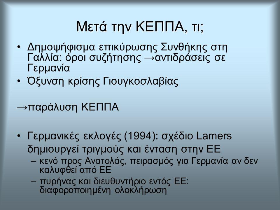 Μετά την ΚΕΠΠΑ, τι; Δημοψήφισμα επικύρωσης Συνθήκης στη Γαλλία: όροι συζήτησης →αντιδράσεις σε Γερμανία Όξυνση κρίσης Γιουγκοσλαβίας →παράλυση ΚΕΠΠΑ Γερμανικές εκλογές (1994): σχέδιο Lamers δημιουργεί τριγμούς και ένταση στην ΕΕ –κενό προς Ανατολάς, πειρασμός για Γερμανία αν δεν καλυφθεί από ΕΕ –πυρήνας και διευθυντήριο εντός ΕΕ: διαφοροποιημένη ολοκλήρωση