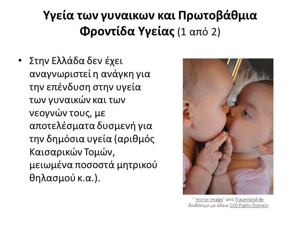 Υγεία των γυναικων και Πρωτοβάθμια Φροντίδα Υγείας (1 από 2) Στην Ελλάδα δεν έχει αναγνωριστεί η ανάγκη για την επένδυση στην υγεία των γυναικών και των νεογνών τους, με αποτελέσματα δυσμενή για την δημόσια υγεία (αριθμός Καισαρικών Τομών, μειωμένα ποσοστά μητρικού θηλασμού κ.α.).