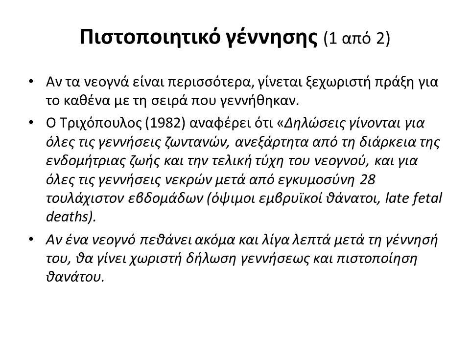 Πιστοποιητικό γέννησης (1 από 2) Αν τα νεογνά είναι περισσότερα, γίνεται ξεχωριστή πράξη για το καθένα με τη σειρά που γεννήθηκαν. Ο Τριχόπουλος (1982