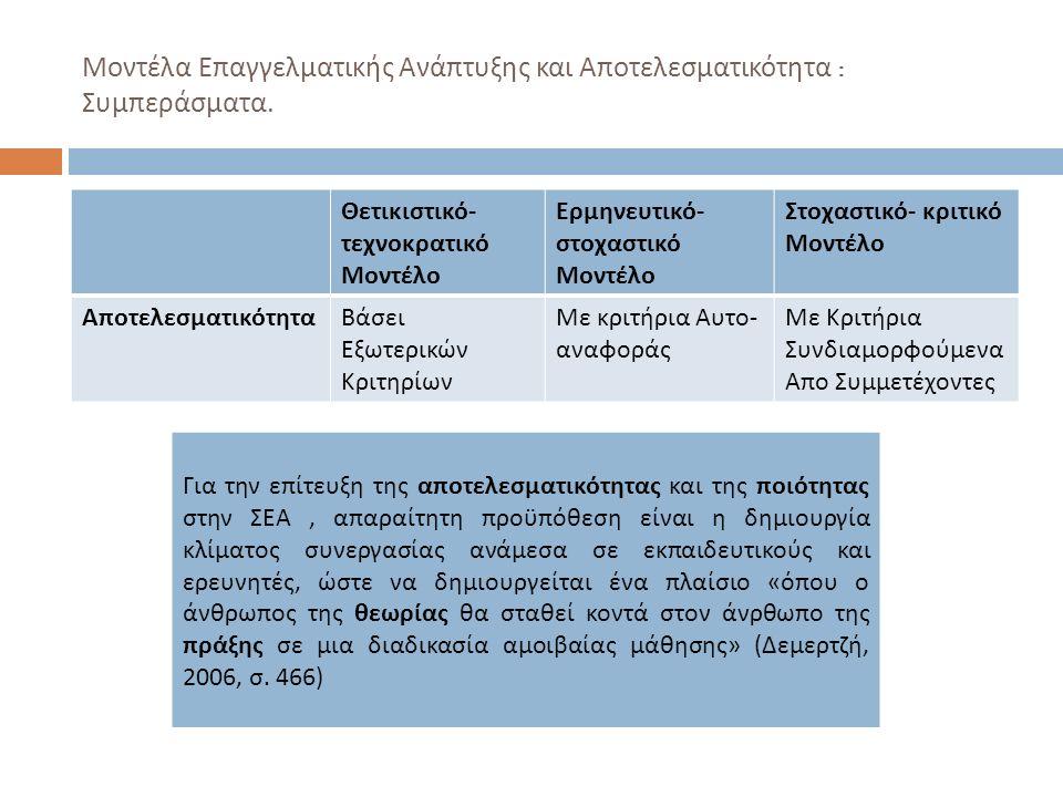 Μοντέλα Επαγγελματικής Ανάπτυξης και Αποτελεσματικότητα : Συμπεράσματα.