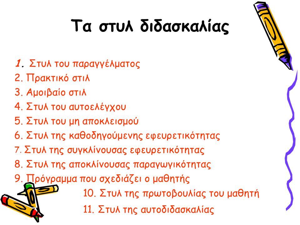 Τα στυλ διδασκαλίας 1. Στυλ του παραγγέλματος 2. Πρακτικό στιλ 3.
