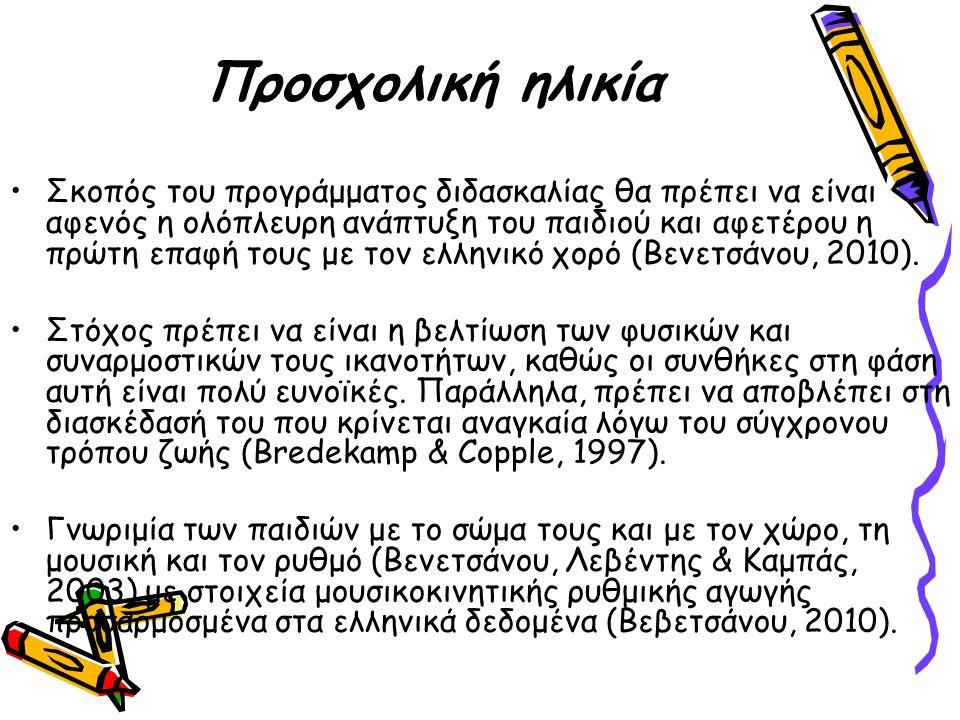 Προσχολική ηλικία Σκοπός του προγράμματος διδασκαλίας θα πρέπει να είναι αφενός η ολόπλευρη ανάπτυξη του παιδιού και αφετέρου η πρώτη επαφή τους με τον ελληνικό χορό (Βενετσάνου, 2010).