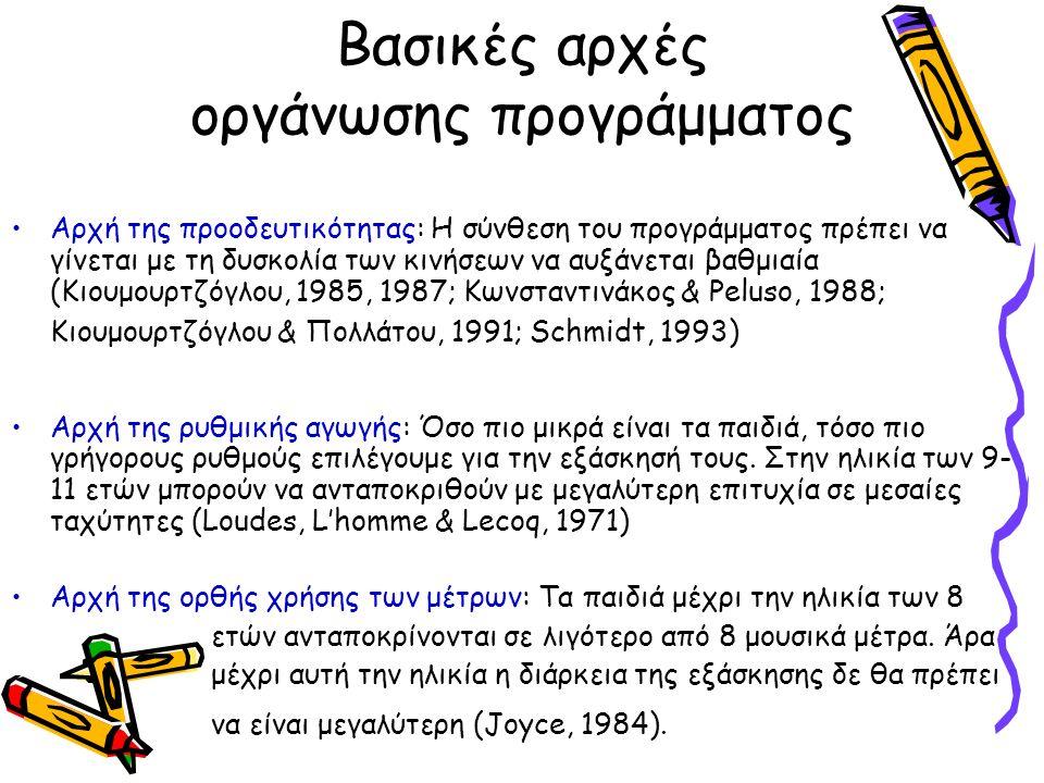 Βασικές αρχές οργάνωσης προγράμματος Αρχή της προοδευτικότητας: Η σύνθεση του προγράμματος πρέπει να γίνεται με τη δυσκολία των κινήσεων να αυξάνεται βαθμιαία (Κιουμουρτζόγλου, 1985, 1987; Κωνσταντινάκος & Peluso, 1988; Κιουμουρτζόγλου & Πολλάτου, 1991; Schmidt, 1993) Αρχή της ρυθμικής αγωγής: Όσο πιο μικρά είναι τα παιδιά, τόσο πιο γρήγορους ρυθμούς επιλέγουμε για την εξάσκησή τους.