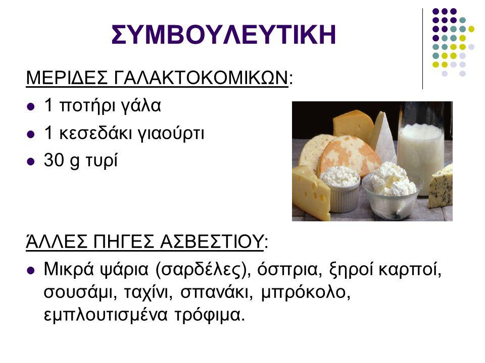 ΣΥΜΒΟΥΛΕΥΤΙΚΗ ΜΕΡΙΔΕΣ ΓΑΛΑΚΤΟΚΟΜΙΚΩΝ: 1 ποτήρι γάλα 1 κεσεδάκι γιαούρτι 30 g τυρί ΆΛΛΕΣ ΠΗΓΕΣ ΑΣΒΕΣΤΙΟΥ: Μικρά ψάρια (σαρδέλες), όσπρια, ξηροί καρποί, σουσάμι, ταχίνι, σπανάκι, μπρόκολο, εμπλουτισμένα τρόφιμα.