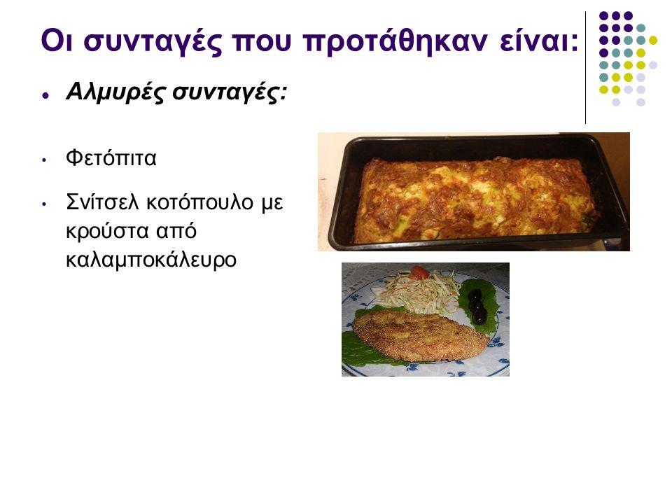 Οι συνταγές που προτάθηκαν είναι: Αλμυρές συνταγές: Φετόπιτα Σνίτσελ κοτόπουλο με κρούστα από καλαμποκάλευρο