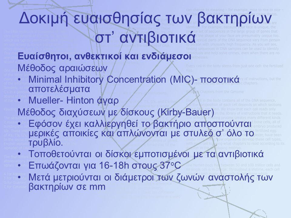 Δοκιμή ευαισθησίας των βακτηρίων στ' αντιβιοτικά Ευαίσθητοι, ανθεκτικοί και ενδιάμεσοι Μέθοδος αραιώσεων Minimal Inhibitory Concentration (MIC)- ποσοτικά αποτελέσματα Mueller- Hinton άγαρ Μέθοδος διαχύσεων με δίσκους (Kirby-Bauer) Εφόσον έχει καλλιεργηθεί το βακτήριο αποσπούνται μερικές αποικίες και απλώνονται με στυλεό σ' όλο το τρυβλίο.
