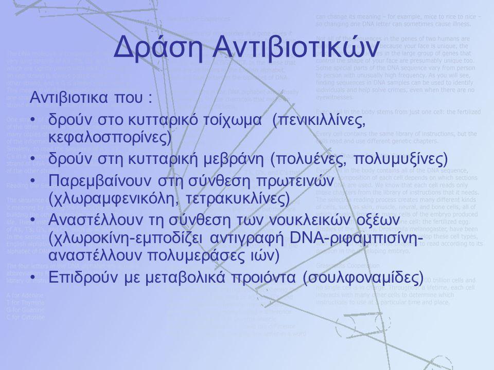 Δράση Αντιβιοτικών Αντιβιοτικα που : δρούν στο κυτταρικό τοίχωμα (πενικιλλίνες, κεφαλοσπορίνες) δρούν στη κυτταρική μεβράνη (πολυένες, πολυμυξίνες) Παρεμβαίνουν στη σύνθεση πρωτεινών (χλωραμφενικόλη, τετρακυκλίνες) Αναστέλλουν τη σύνθεση των νουκλεικών οξέων (χλωροκίνη-εμποδίζει αντιγραφή DNA-ριφαμπισίνη- αναστέλλουν πολυμεράσες ιών) Επιδρούν με μεταβολικά προιόντα (σουλφοναμίδες)