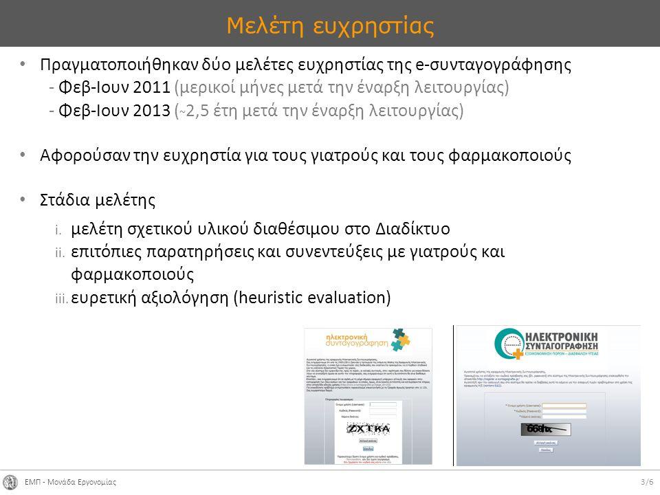 ΕΜΠ - Μονάδα Εργονομίας 3/6 Μελέτη ευχρηστίας Πραγματοποιήθηκαν δύο μελέτες ευχρηστίας της e-συνταγογράφησης - Φεβ-Ιουν 2011 (μερικοί μήνες μετά την έναρξη λειτουργίας) - Φεβ-Ιουν 2013 ( ~ 2,5 έτη μετά την έναρξη λειτουργίας) Αφορούσαν την ευχρηστία για τους γιατρούς και τους φαρμακοποιούς Στάδια μελέτης i.