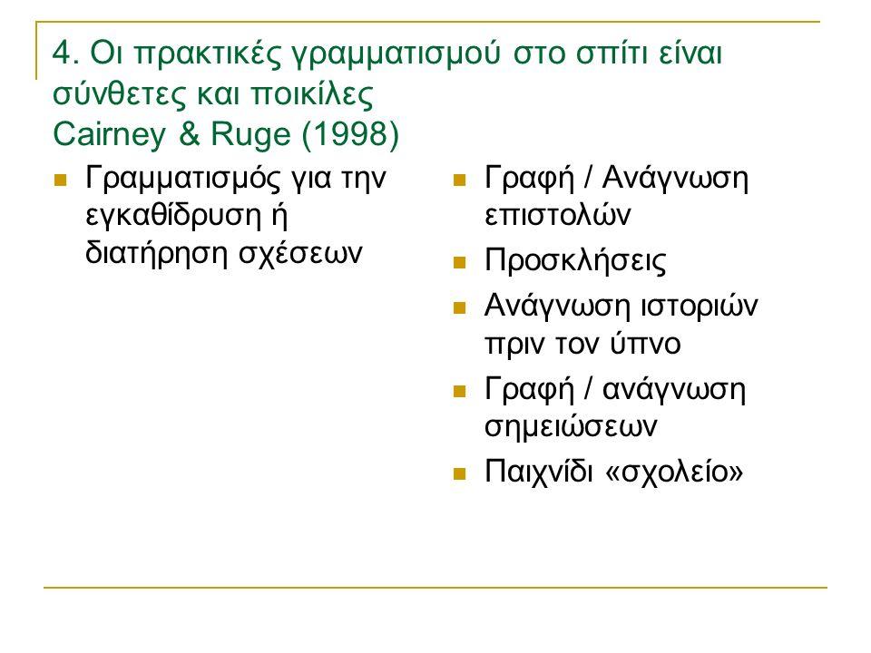 4. Οι πρακτικές γραμματισμού στο σπίτι είναι σύνθετες και ποικίλες Cairney & Ruge (1998) Γραμματισμός για την εγκαθίδρυση ή διατήρηση σχέσεων Γραφή /