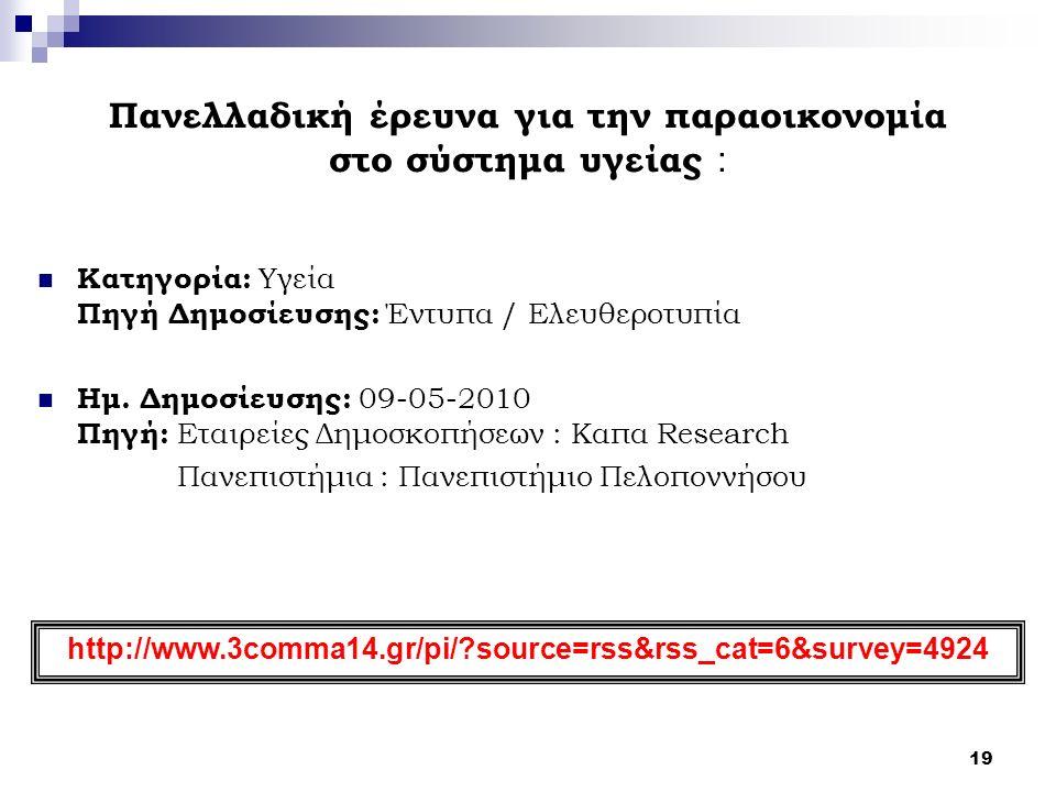 19 Πανελλαδική έρευνα για την παραοικονομία στο σύστημα υγείας : Κατηγορία: Υγεία Πηγή Δημοσίευσης: Έντυπα / Ελευθεροτυπία Ημ. Δημοσίευσης: 09-05-2010