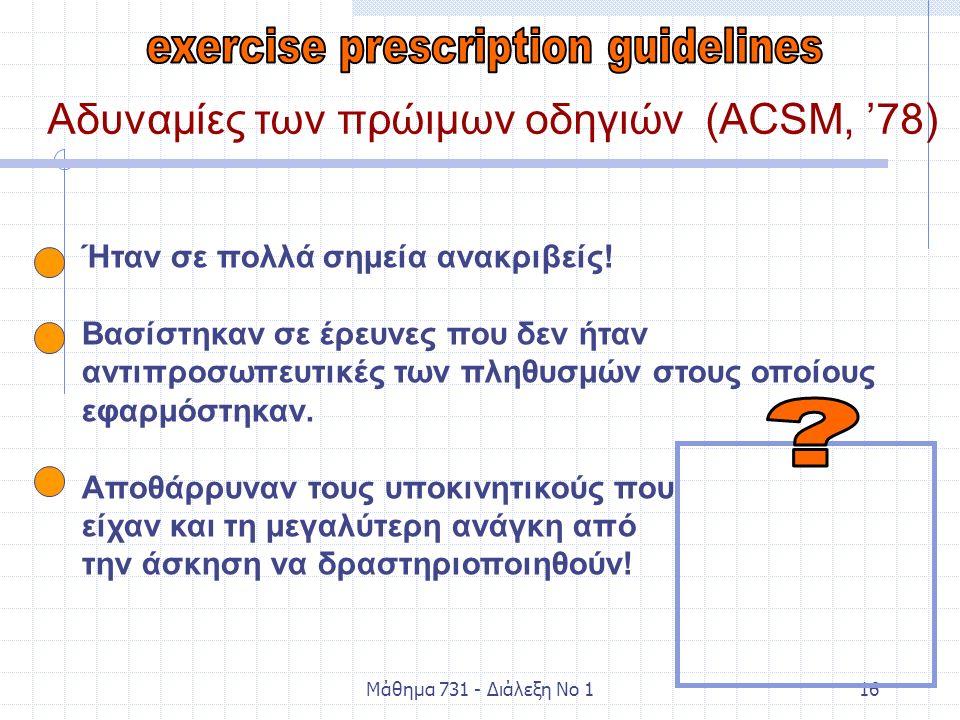 Μάθημα 731 - Διάλεξη Νο 116 Αδυναμίες των πρώιμων οδηγιών (ACSM, '78) Ήταν σε πολλά σημεία ανακριβείς! Βασίστηκαν σε έρευνες που δεν ήταν αντιπροσωπευ