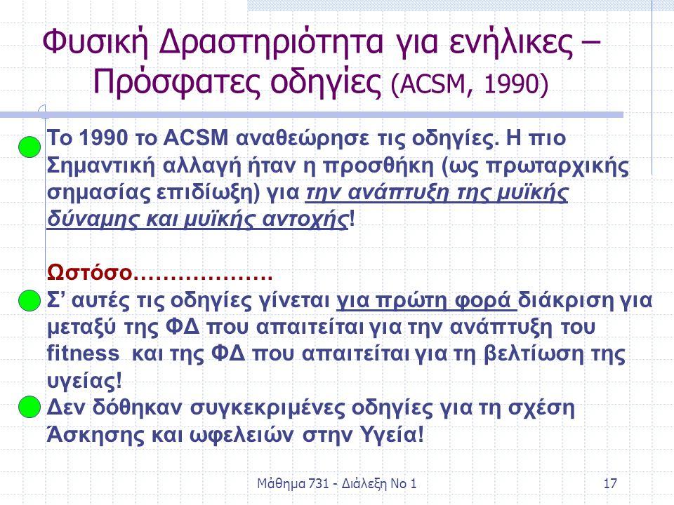 Μάθημα 731 - Διάλεξη Νο 117 Φυσική Δραστηριότητα για ενήλικες – Πρόσφατες οδηγίες (ACSM, 1990) To 1990 το ACSM αναθεώρησε τις οδηγίες. Η πιο Σημαντική