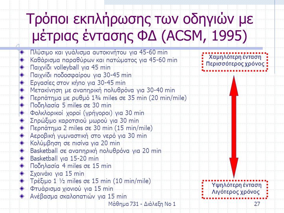 Μάθημα 731 - Διάλεξη Νο 127 Τρόποι εκπλήρωσης των οδηγιών με μέτριας έντασης ΦΔ (ACSM, 1995) Πλύσιμο και γυάλισμα αυτοκινήτου για 45-60 min Καθάρισμα