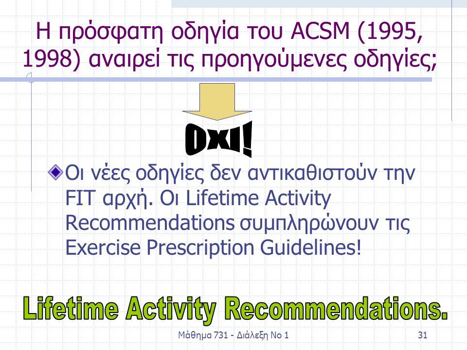 Μάθημα 731 - Διάλεξη Νο 131 Η πρόσφατη οδηγία του ACSM (1995, 1998) αναιρεί τις προηγούμενες οδηγίες; Οι νέες οδηγίες δεν αντικαθιστούν την FIT αρχή.