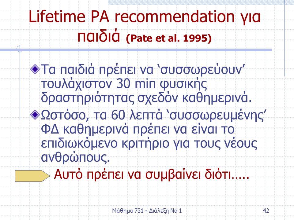 Μάθημα 731 - Διάλεξη Νο 142 Lifetime PA recommendation για παιδιά (Pate et al. 1995) Τα παιδιά πρέπει να 'συσσωρεύουν' τουλάχιστον 30 min φυσικής δρασ