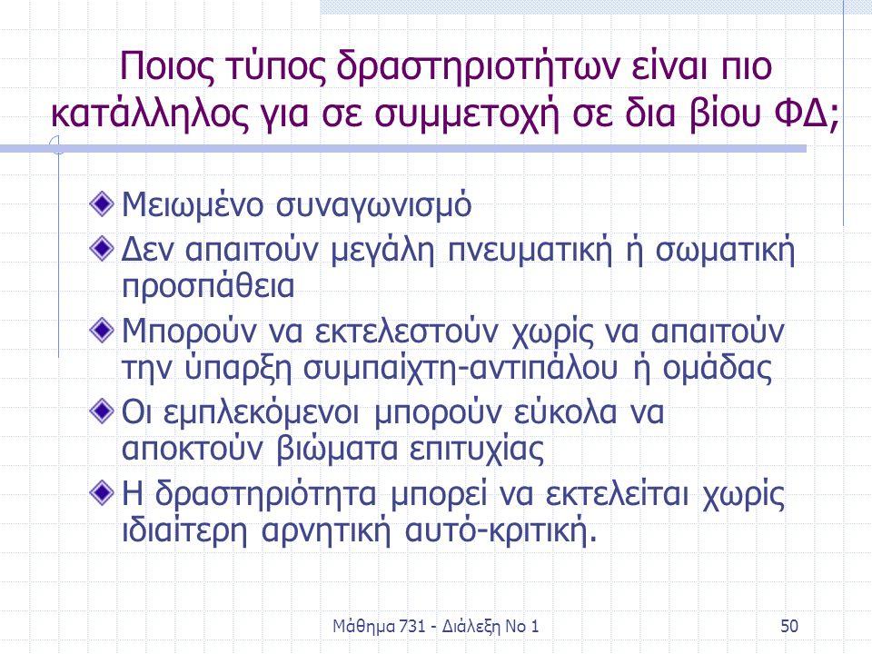Μάθημα 731 - Διάλεξη Νο 150 Ποιος τύπος δραστηριοτήτων είναι πιο κατάλληλος για σε συμμετοχή σε δια βίου ΦΔ; Μειωμένο συναγωνισμό Δεν απαιτούν μεγάλη