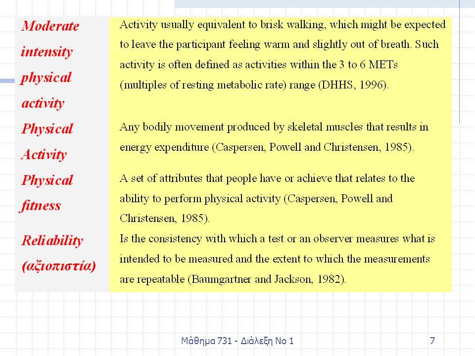 Μάθημα 731 - Διάλεξη Νο 128 Είναι δυνατό να αξιολογηθεί με ακρίβεια η ΦΔ ώστε να εκπληρώνεται πλήρως η οδηγία; Ο απλούστερος τρόπος είναι να επιλέγονται ΦΔ που είναι σε ανάλογη ένταση με το γρήγορο βάδισμα (3- 6ΜΕΤς) Μέτρηση των θερμίδων που ξοδεύονται σε μία βδομάδα.