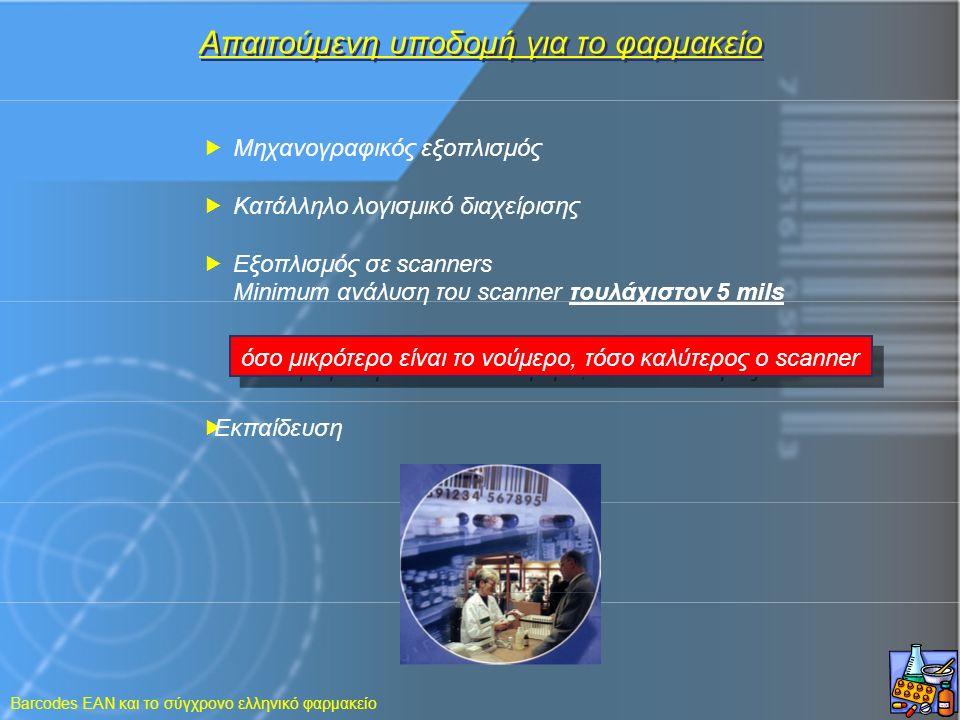 Barcodes EAN και το σύγχρονο ελληνικό φαρμακείο Απαιτούμενη υποδομή για το φαρμακείο  Μηχανογραφικός εξοπλισμός  Κατάλληλο λογισμικό διαχείρισης  Ε