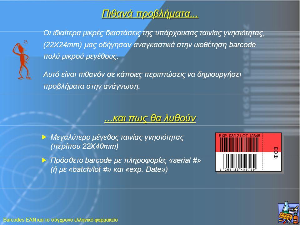 Barcodes EAN και το σύγχρονο ελληνικό φαρμακείο Πιθανά προβλήματα... Οι ιδιαίτερα μικρές διαστάσεις της υπάρχουσας ταινίας γνησιότητας, (22X24mm) μας