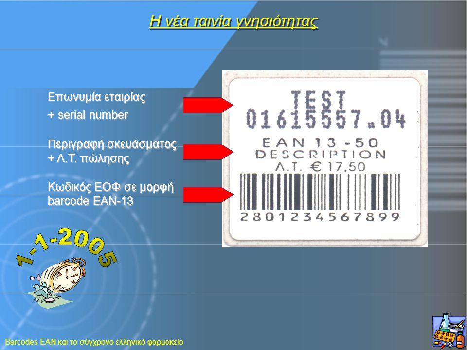 Barcodes EAN και το σύγχρονο ελληνικό φαρμακείο Η νέα ταινία γνησιότητας Επωνυμία εταιρίας + serial number Περιγραφή σκευάσματος + Λ.Τ. πώλησης Κωδικό
