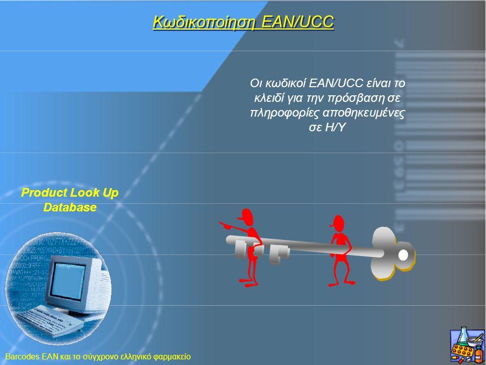 Barcodes EAN και το σύγχρονο ελληνικό φαρμακείο Oι κωδικοί EAN/UCC είναι το κλειδί για την πρόσβαση σε πληροφορίες αποθηκευμένες σε H/Y Kωδικοποίηση E