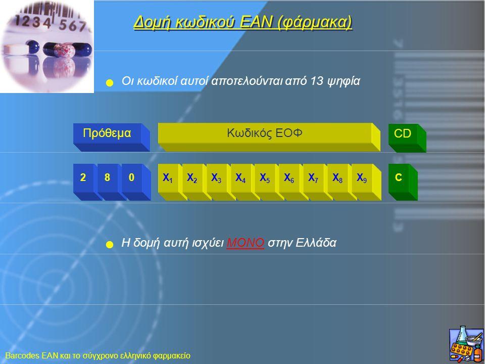 Barcodes EAN και το σύγχρονο ελληνικό φαρμακείο 280X1X1 X2X2 X3X3 X4X4 X5X5 X6X6 X7X7 X8X8 X9X9 C Δομή κωδικού ΕΑΝ (φάρμακα) ΠρόθεμαΚωδικός ΕΟΦ CD Oι