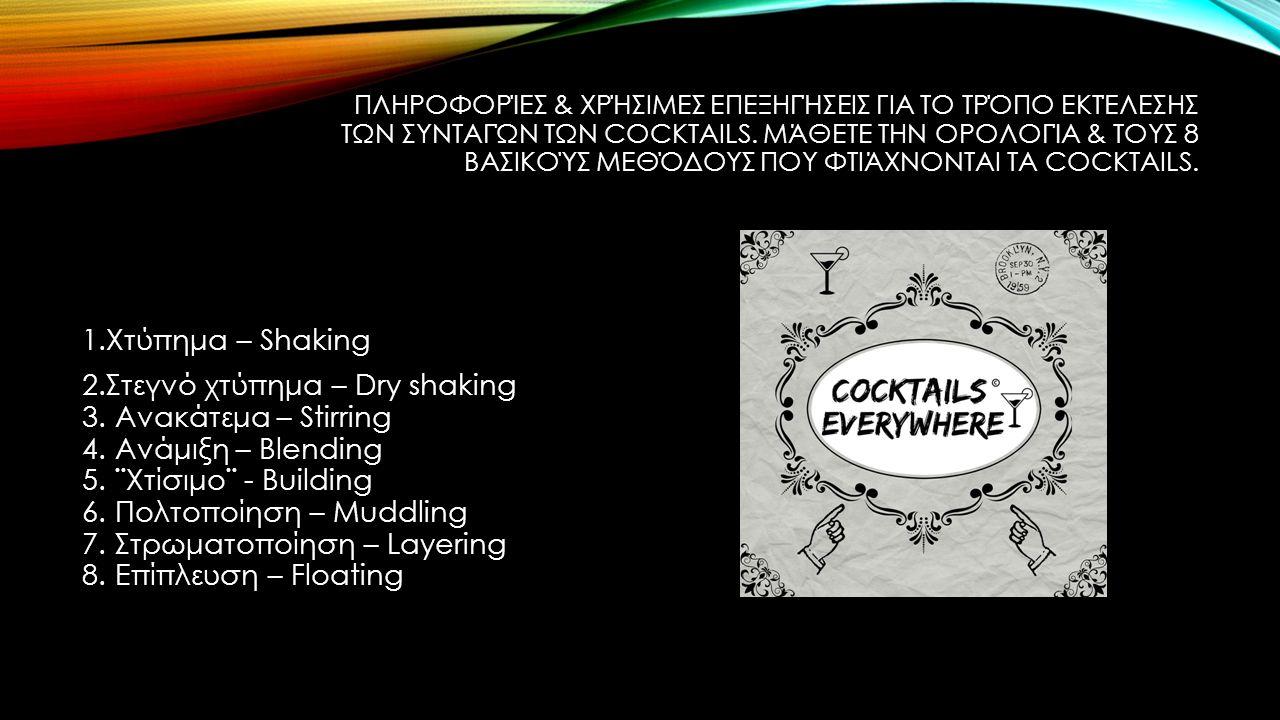 ΧΤΎΠΗΜΑ – SHAKING Θα πρέπει να βάλετε όλα τα συστατικά μαζί με πάγο στο shaker & να τα χτυπήσετε τουλάχιστον για 20 δευτερόλεπτα.
