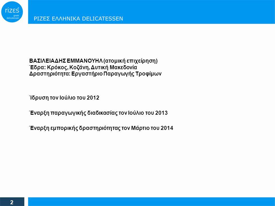 Ίδρυση τον Ιούλιο του 2012 2 Έναρξη παραγωγικής διαδικασίας τον Ιούλιο του 2013 Έναρξη εμπορικής δραστηριότητας τον Μάρτιο του 2014 ΒΑΣΙΛΕΙΑΔΗΣ ΕΜΜΑΝΟΥΗΛ (ατομική επιχείρηση) Έδρα: Κρόκος, Κοζάνη, Δυτική Μακεδονία Δραστηριότητα: Εργαστήριο Παραγωγής Τροφίμων