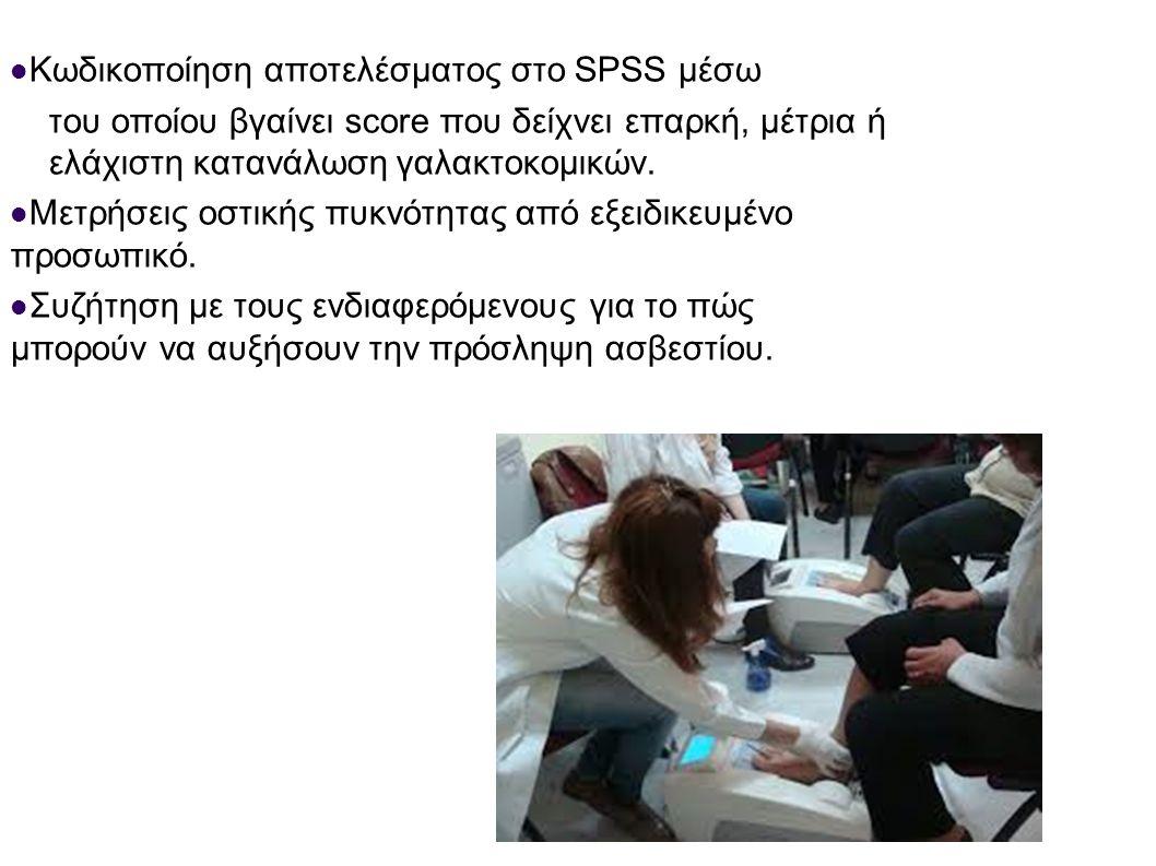Κωδικοποίηση αποτελέσματος στο SPSS μέσω του οποίου βγαίνει score που δείχνει επαρκή, μέτρια ή ελάχιστη κατανάλωση γαλακτοκομικών. Μετρήσεις οστικής π