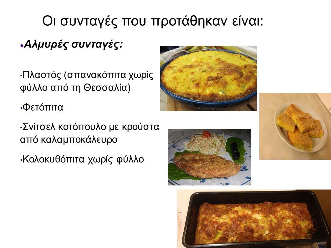 Οι συνταγές που προτάθηκαν είναι: Αλμυρές συνταγές: Πλαστός (σπανακόπιτα χωρίς φύλλο από τη Θεσσαλία) Φετόπιτα Σνίτσελ κοτόπουλο με κρούστα από καλαμπ