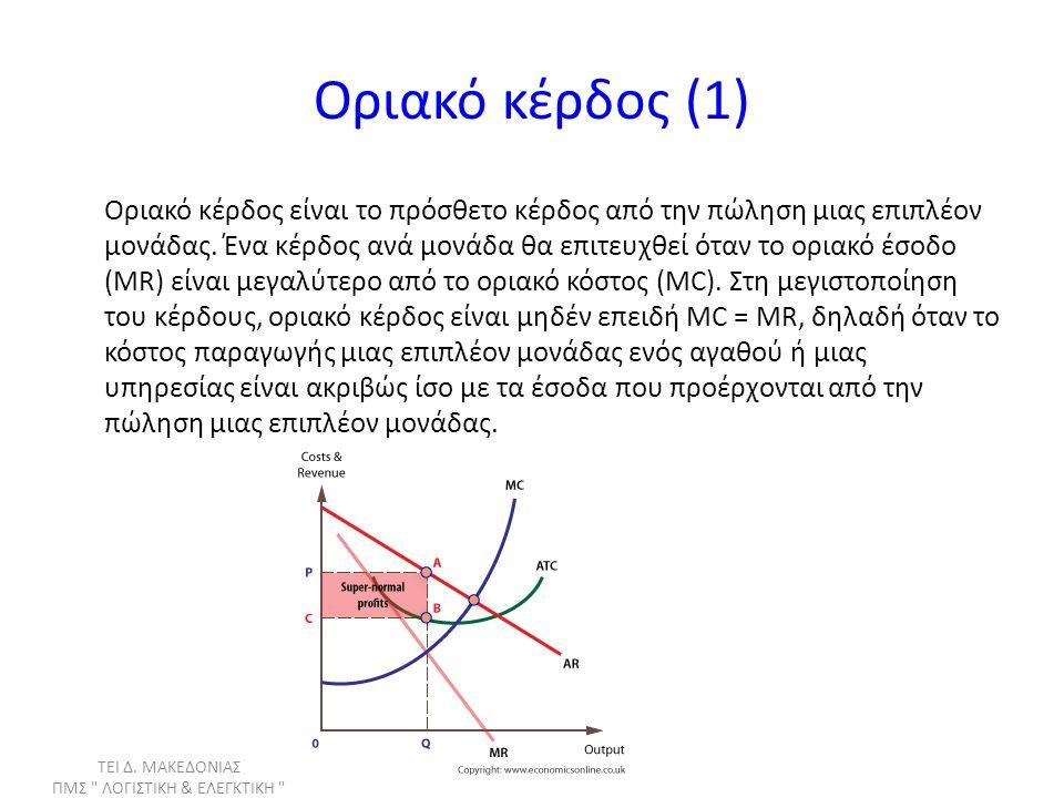 Οριακό κέρδος (2) Αν οριακό κέρδος είναι μεγαλύτερο του μηδενός η εταιρεία θα πρέπει να αυξήσει την παραγωγή της Αν οριακό κέρδος είναι μικρότερο του μηδενός η εταιρεία θα πρέπει να μειώσει την παραγωγή της ΤΕΙ Δ.