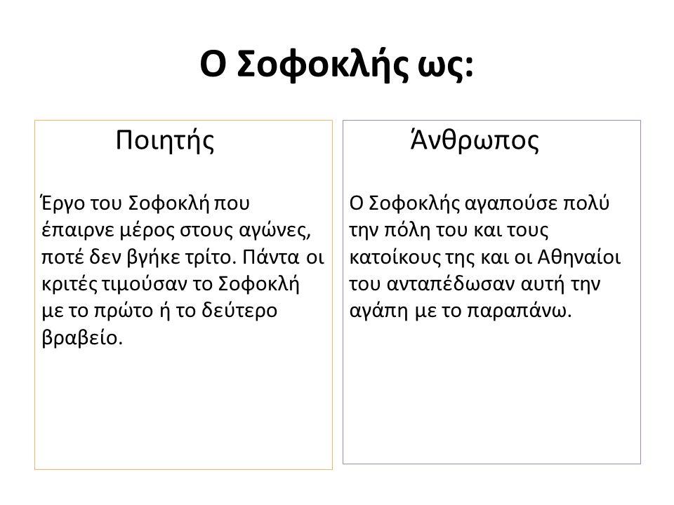 Ο Σοφοκλής ως: Ποιητής Έργο του Σοφοκλή που έπαιρνε μέρος στους αγώνες, ποτέ δεν βγήκε τρίτο.