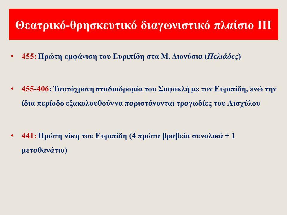 Θεατρικό-θρησκευτικό διαγωνιστικό πλαίσιο ΙΙ 497/6: Γέννηση του Σοφοκλή 486 /5 : Ενσωμάτωση κωμικών παραστάσεων στο διαγωνιστικό πλαίσιο των Μ.