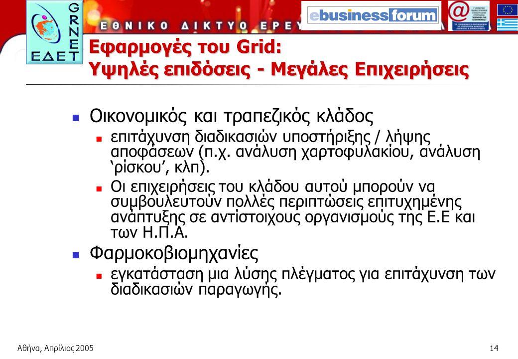 Αθήνα, Απρίλιος 200514 Εφαρμογές του Grid: Υψηλές επιδόσεις - Μεγάλες Επιχειρήσεις Οικονομικός και τραπεζικός κλάδος επιτάχυνση διαδικασιών υποστήριξης / λήψης αποφάσεων (π.χ.