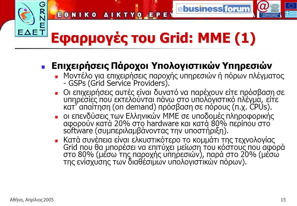 Αθήνα, Απρίλιος 200515 Εφαρμογές του Grid: ΜΜΕ (1) Επιχειρήσεις Πάροχοι Υπολογιστικών Υπηρεσιών Μοντέλο για επιχειρήσεις παροχής υπηρεσιών ή πόρων πλέγματος - GSPs (Grid Service Providers).