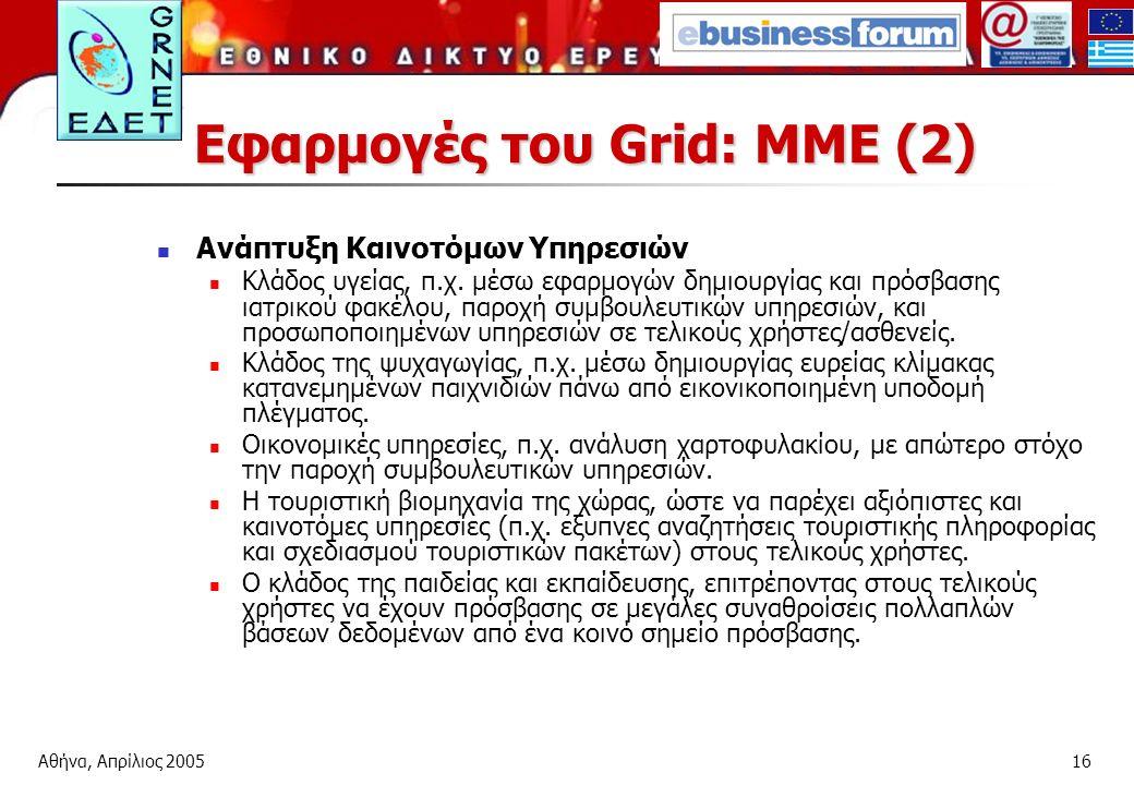 Αθήνα, Απρίλιος 200516 Εφαρμογές του Grid: ΜΜΕ (2) Ανάπτυξη Καινοτόμων Υπηρεσιών Κλάδος υγείας, π.χ.