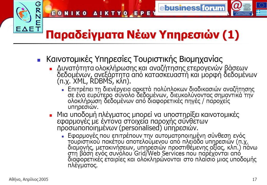 Αθήνα, Απρίλιος 200517 Παραδείγματα Νέων Υπηρεσιών (1) Καινοτομικές Υπηρεσίες Τουριστικής Βιομηχανίας Δυνατότητα ολοκλήρωσης και αναζήτησης ετερογενών βάσεων δεδομένων, ανεξάρτητα από κατασκευαστή και μορφή δεδομένων (π.χ.